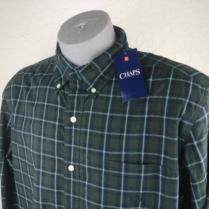NEW Chaps Mens Casual Plaid Shirt Green SIZE XL